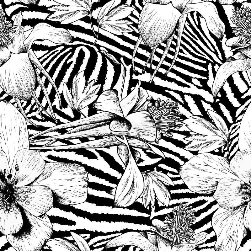 Teste padrão de flor sem emenda monocromático do vintage ilustração stock