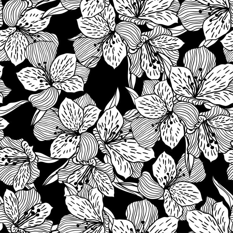 Teste padrão de flor sem emenda preto abstrato com orquídea ilustração do vetor