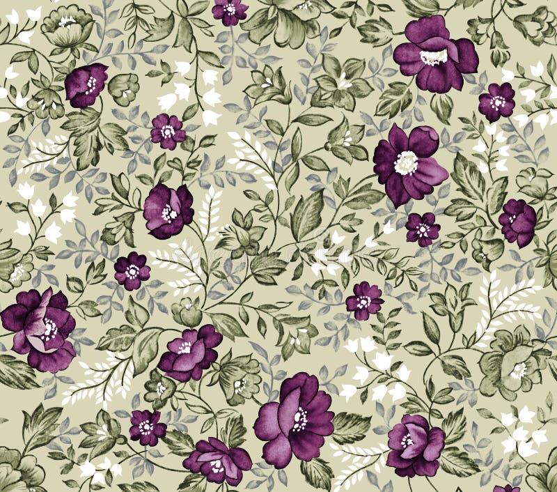 Teste padrão de flor sem emenda retro do damasco ilustração stock