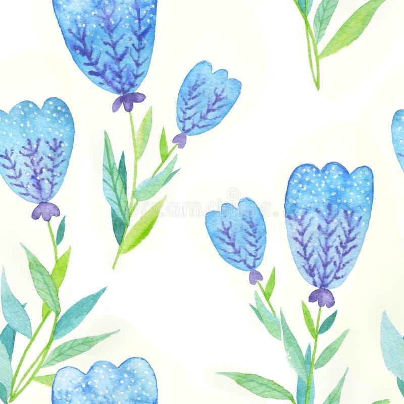 Teste padrão de flores azul ilustração stock