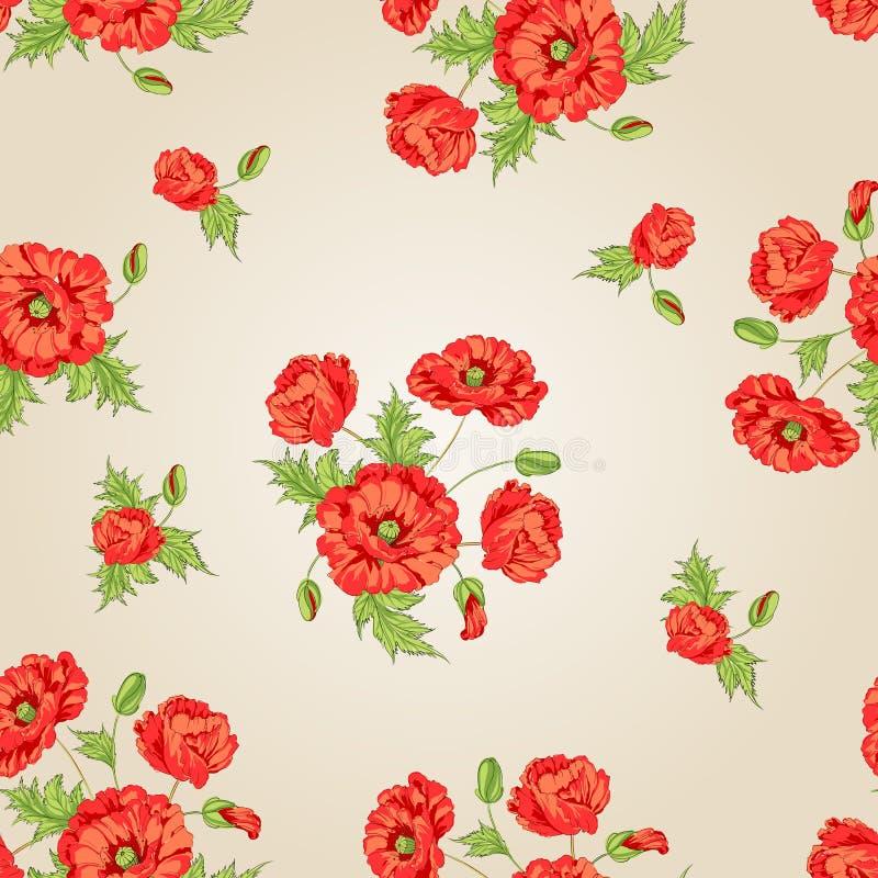 Teste padrão de flores da papoila. ilustração do vetor