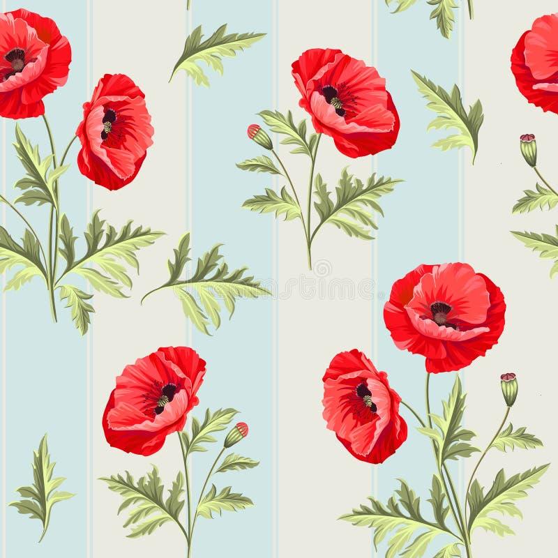 Teste padrão de flores da papoila ilustração do vetor