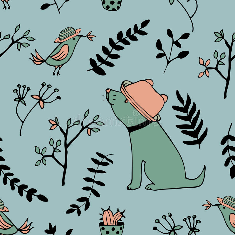 Teste padrão de flores do pássaro do cão dos desenhos animados no vetor ilustração stock