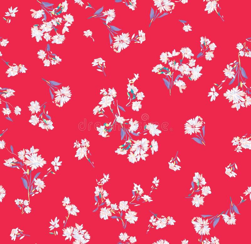 Teste padrão de flores em fundo listrado ilustração royalty free