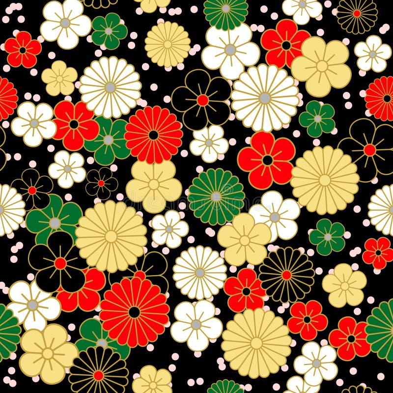 Teste padrão de flores japonês do vintage no fundo preto ilustração do vetor