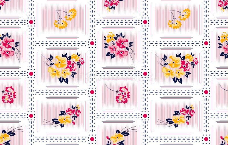 Teste padrão de flores listrado decorativo para a forma imagem de stock royalty free