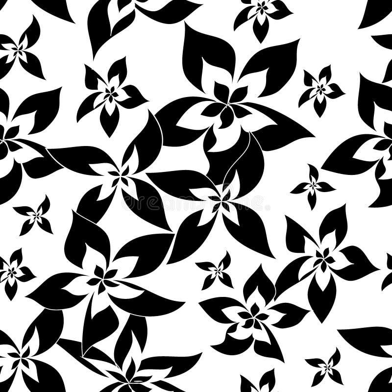 Teste padrão de flores monocromático ilustração royalty free