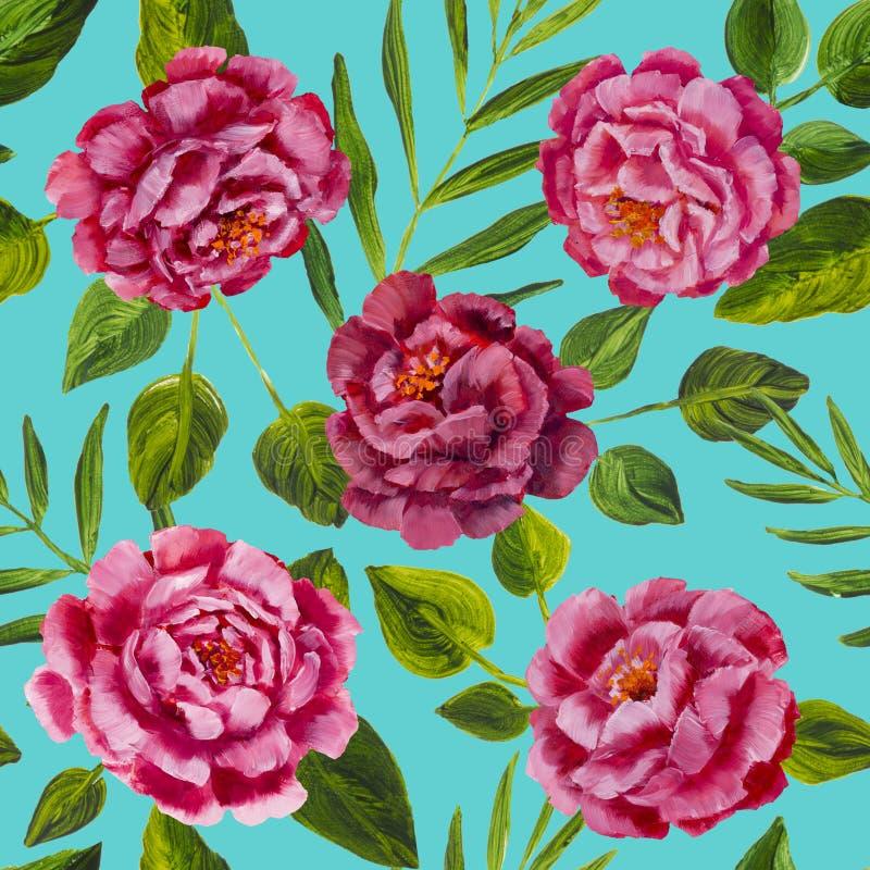 Teste padrão de flores - peônias cor-de-rosa, pintura a óleo das rosas ilustração do vetor