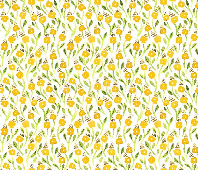 Teste padrão de flores pequeno do amarelo da aquarela ilustração do vetor
