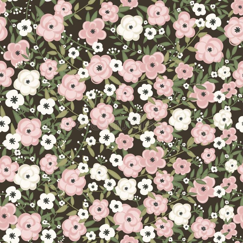 Teste padrão de flores retro no vetor ilustração do vetor