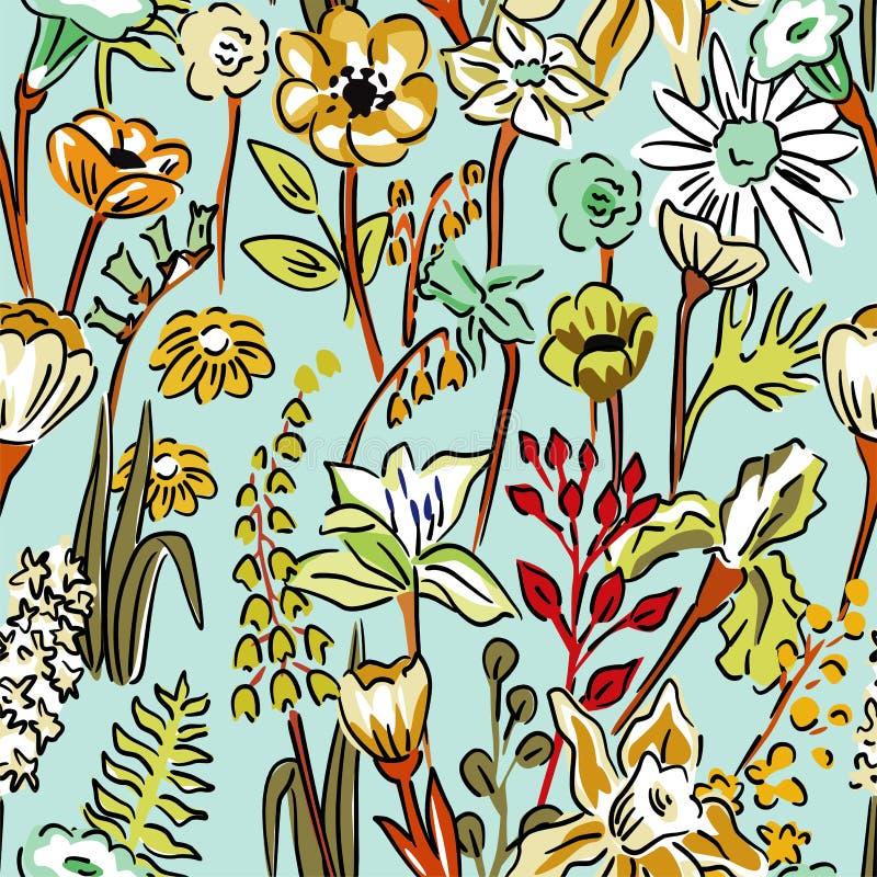 Teste padrão de flores selvagens ilustração do vetor