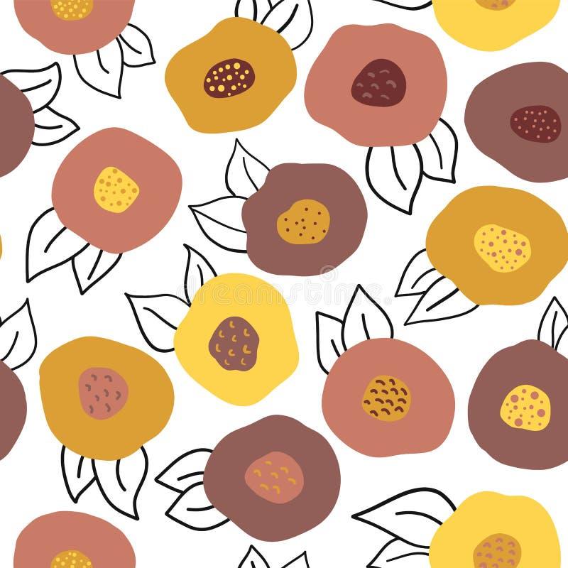 Teste padrão de flores sem emenda da garatuja do outono do vetor ilustração stock
