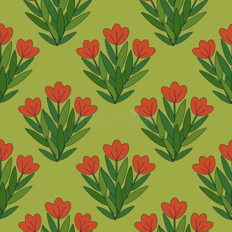 Teste Padrão De Flores Vermelho Foto de Stock Royalty Free
