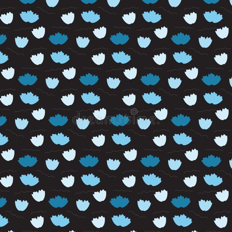 Teste padrão de flutuação da flor azul macia no fundo preto ilustração royalty free