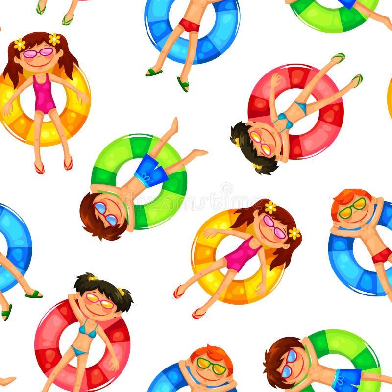Teste padrão de flutuação das crianças ilustração stock