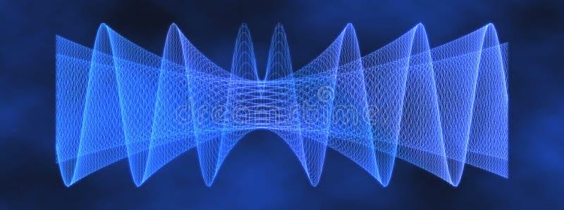Teste padrão de grade azul do engranzamento da onda 3D ilustração royalty free