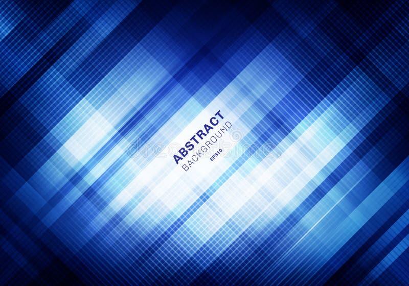 Teste padrão de grade azul listrado do sumário com iluminação no fundo escuro Quadrados geométricos que sobrepõem o estilo da tec ilustração stock