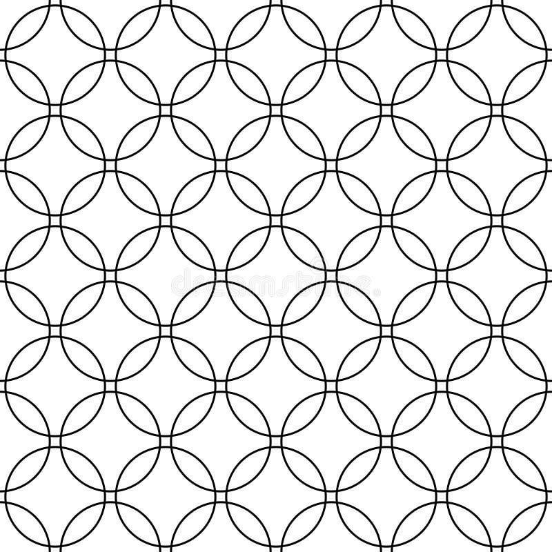 Teste padrão de grade preto e branco abstrato sem emenda do círculo - gráfico de intervalo mínimo simples do fundo do vetor ilustração stock