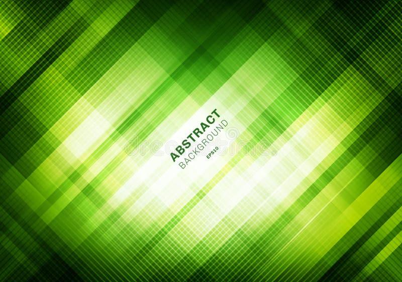 Teste padrão de grade verde listrado do sumário com iluminação no fundo escuro Quadrados geométricos que sobrepõem o estilo da te ilustração stock