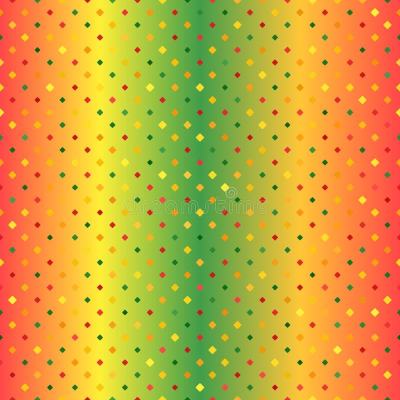 teste padrão de incandescência do diamante Fundo sem emenda do vetor - vermelho, claro - verde, diamantes arredondados amarelos,  ilustração royalty free