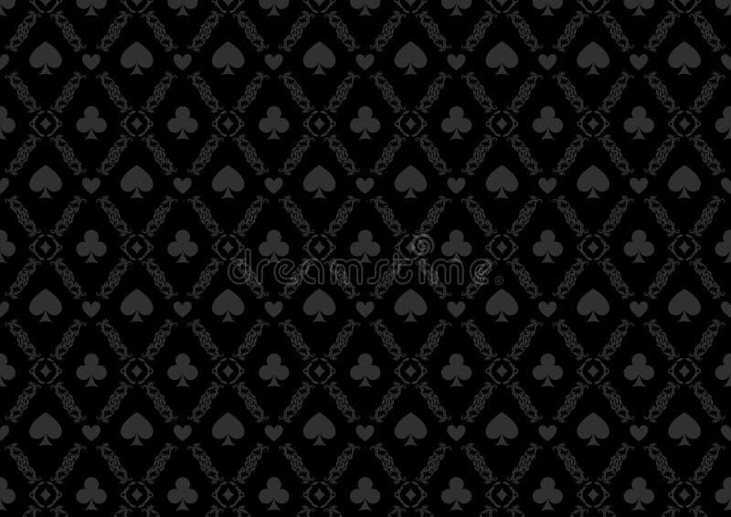 Teste padrão de jogo do fundo do pôquer do casino luxuoso com símbolos do cartão ilustração do vetor