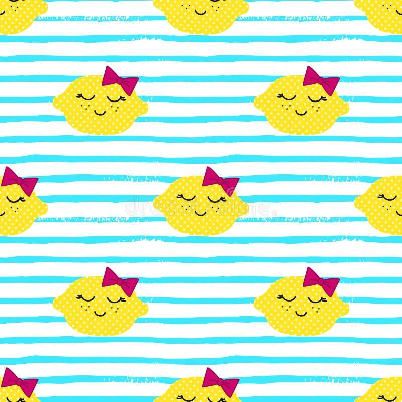 Teste padrão de Kawaii dos limões Textura sem emenda do vetor de limões amarelos felizes em um fundo listrado ilustração stock
