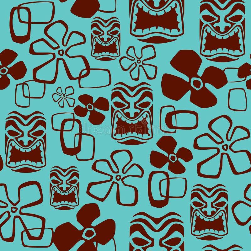 Teste padrão de máscara sem emenda de Tiki ilustração do vetor