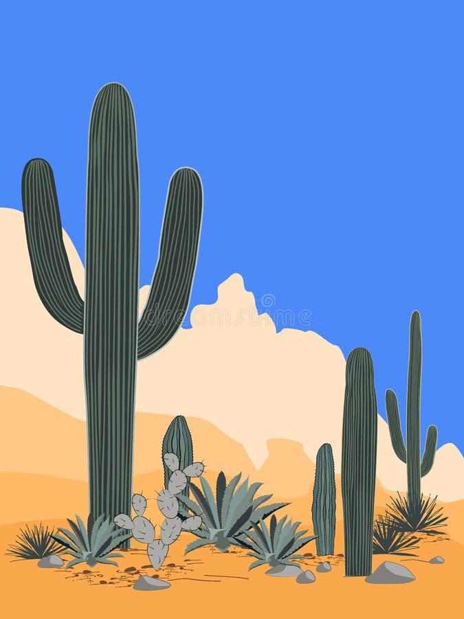 Teste padrão de México com opuntia, agave, e cactos do saguaro Fundo das montanhas Lugar para o texto ilustração do vetor