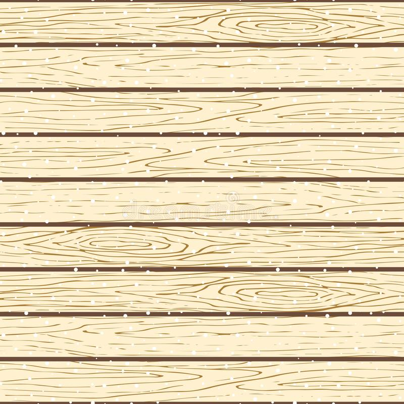 Teste padrão de madeira sem emenda das pranchas Fundo nevado do vetor da textura da casca de árvore ilustração stock