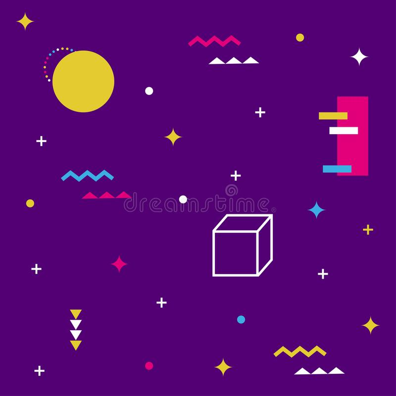 Teste padrão de Memphis de formas geométricas para o tecido e os cartão Cartaz do moderno, fundo suculento, brilhante da cor ilustração do vetor