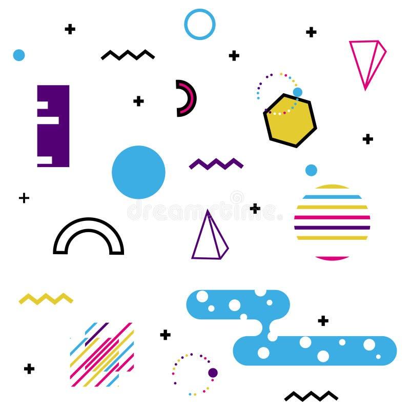 Teste padrão de Memphis de formas geométricas para o tecido e os cartão Cartaz do moderno, fundo suculento, brilhante da cor ilustração stock