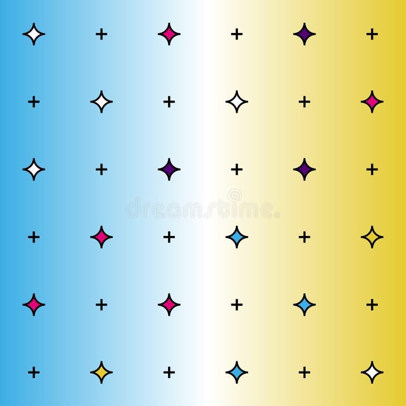 Teste padrão de Memphis de formas geométricas para o tecido e os cartão Cartaz do moderno, fundo suculento, brilhante da cor ilustração royalty free