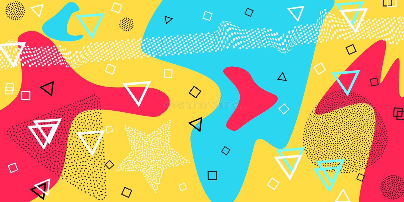 Teste padrão de Memphis de formas geométricas para o tecido e os cartão Ilustração do vetor Estilo do moderno Parte traseira funk ilustração do vetor