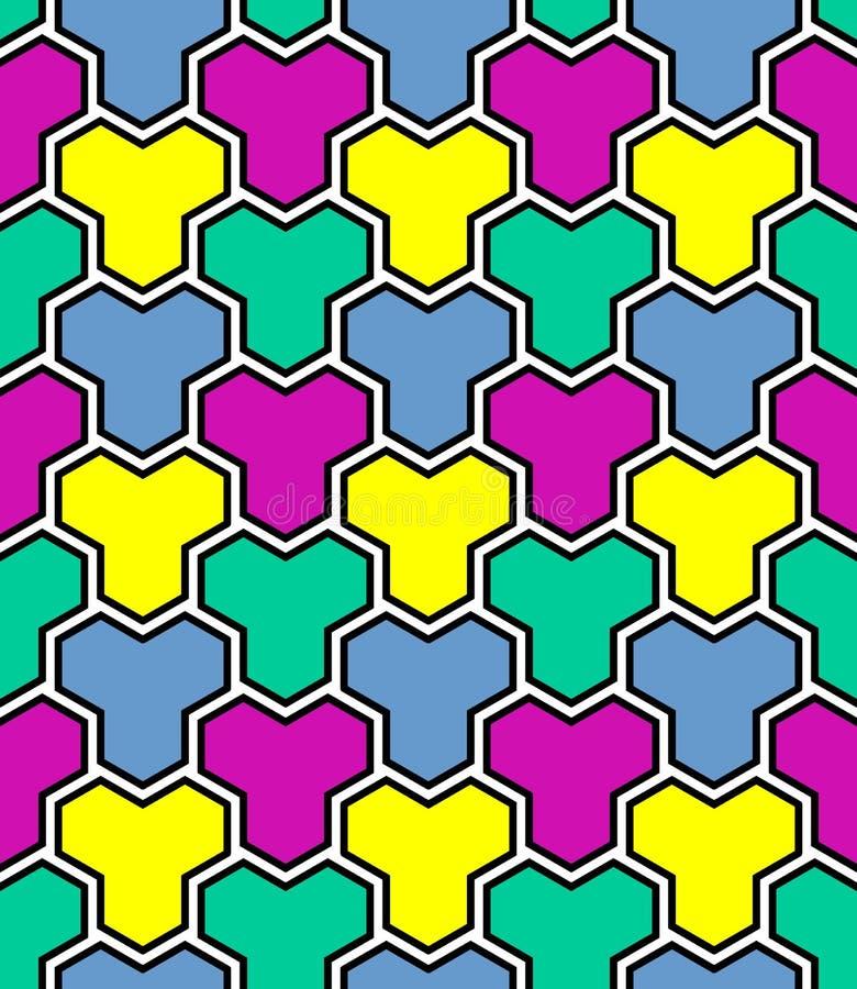 Teste padrão de mosaico multicolorido sem emenda ilustração do vetor