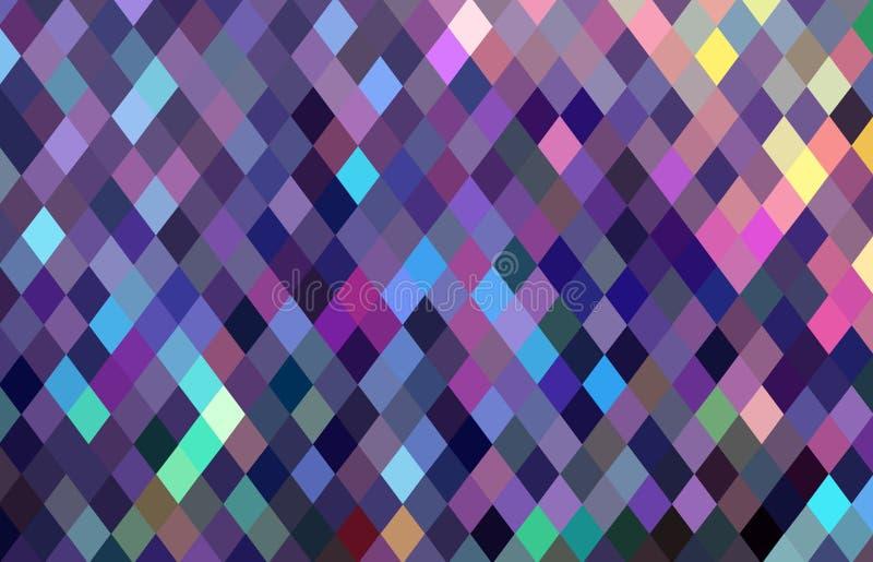 Teste padrão de mosaico quadriculado dos pixéis Fundo azul amarelo do rosa de cristal do lilás ilustração do vetor