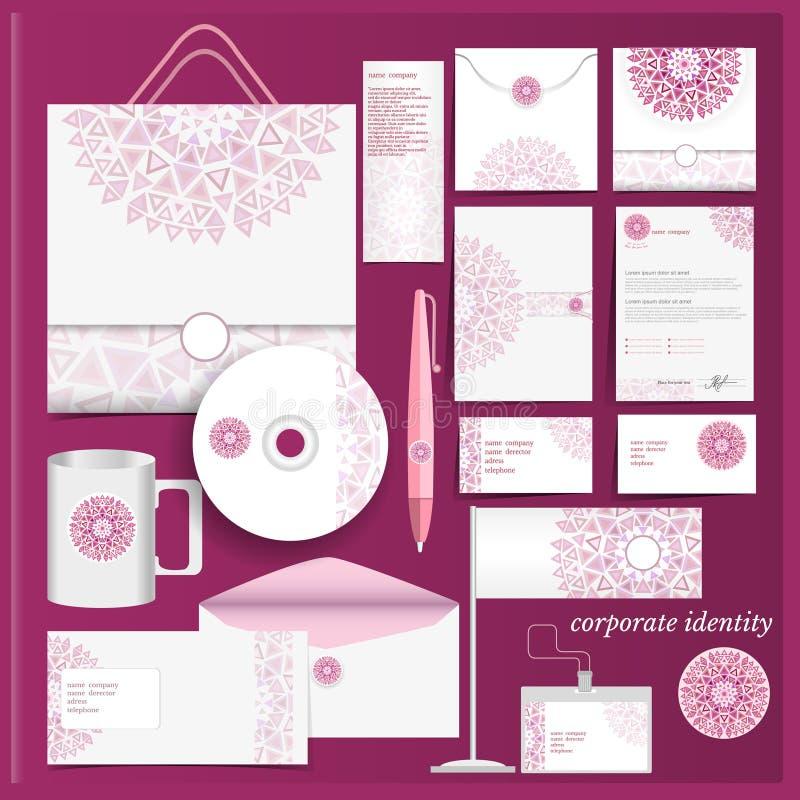 Teste padrão de mosaico violeta do molde da identidade corporativa ilustração royalty free