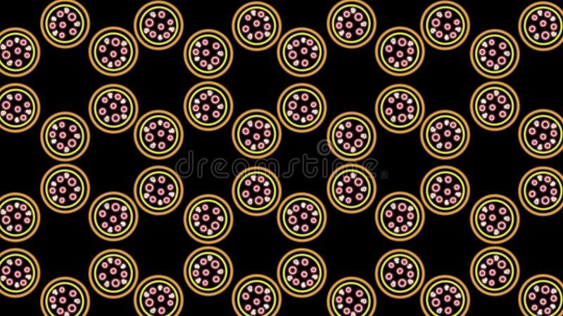 teste padrão de néon abstrato da pizza imagem de stock