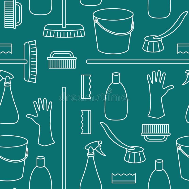 Teste padrão de objetos da limpeza do agregado familiar ilustração do vetor