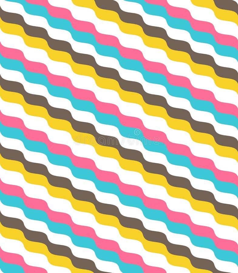 Teste padrão de onda abstrato brilhante multicolorido sem emenda ilustração stock