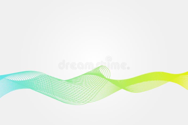 Teste padrão de onda abstrato Fundo do vetor da espiral do inclinação do amarelo do verde azul Ilustração para o projeto, decoraç ilustração royalty free