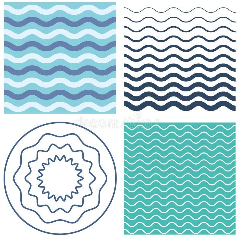 Teste padrão de onda ajustado e círculo ondulado ilustração royalty free