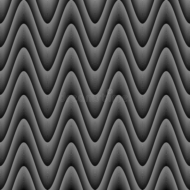 Teste padrão de onda monocromático sem emenda do ziguezague do projeto ilustração stock