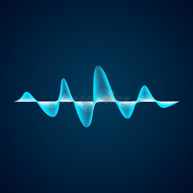Teste padrão de onda sadia Projeto do graf do equalizador Forma de onda digital azul abstrata Ilustração do vetor isolada no fund ilustração stock