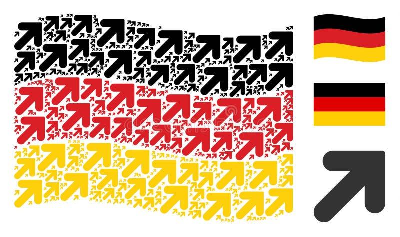 Teste padrão de ondulação da bandeira de Alemanha da seta acima dos ícones direitos ilustração do vetor