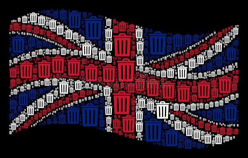 Teste padrão de ondulação da bandeira de Grâ Bretanha de ícones do escaninho de lixo ilustração royalty free
