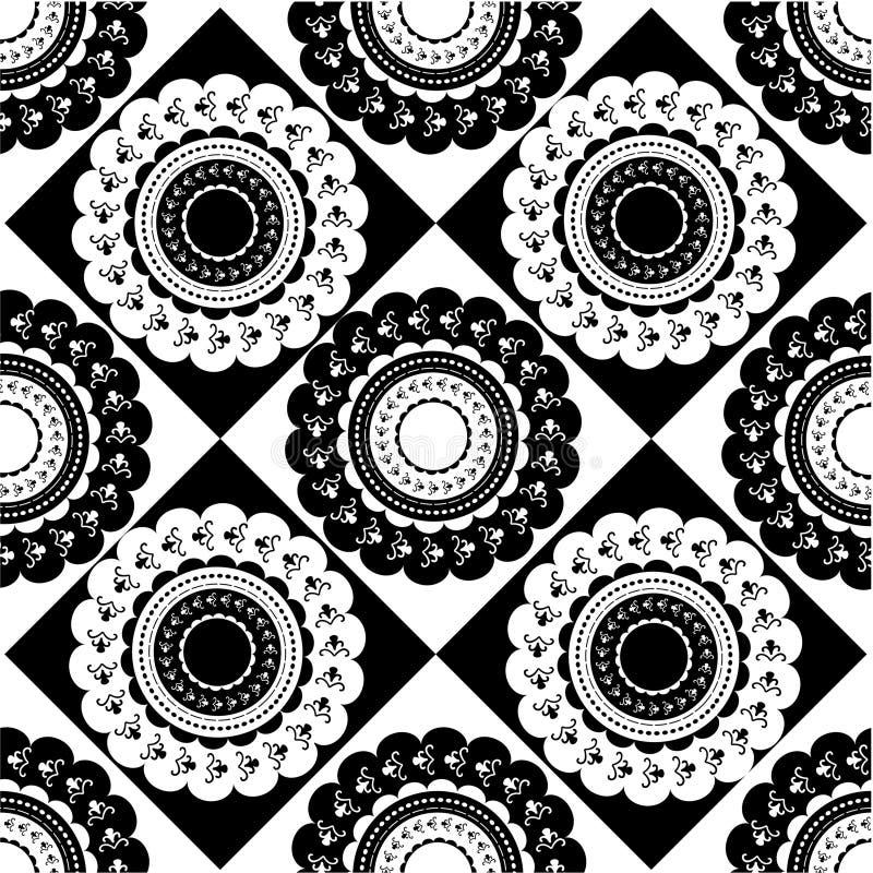Teste padrão de ornamento preto e branco redondos ilustração stock