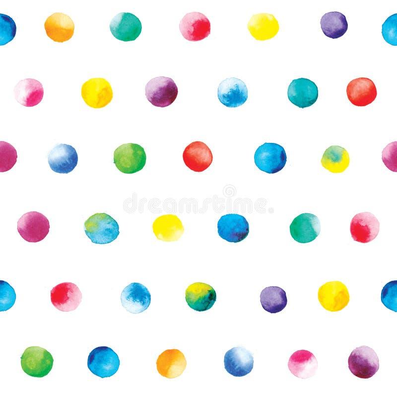 Teste padrão de pontos da aquarela Teste padrão de às bolinhas colorido em um fundo branco ilustração do vetor
