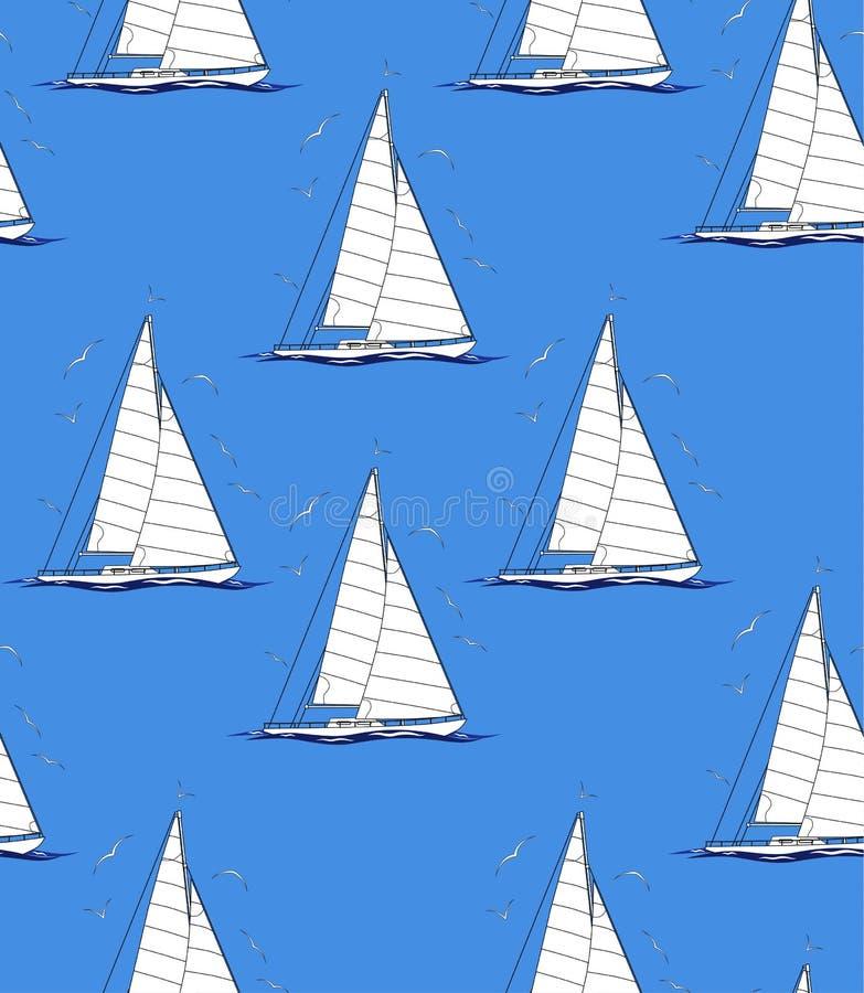 Teste padrão de repetição sem emenda abstrato com veleiros e gaivotas ilustração stock