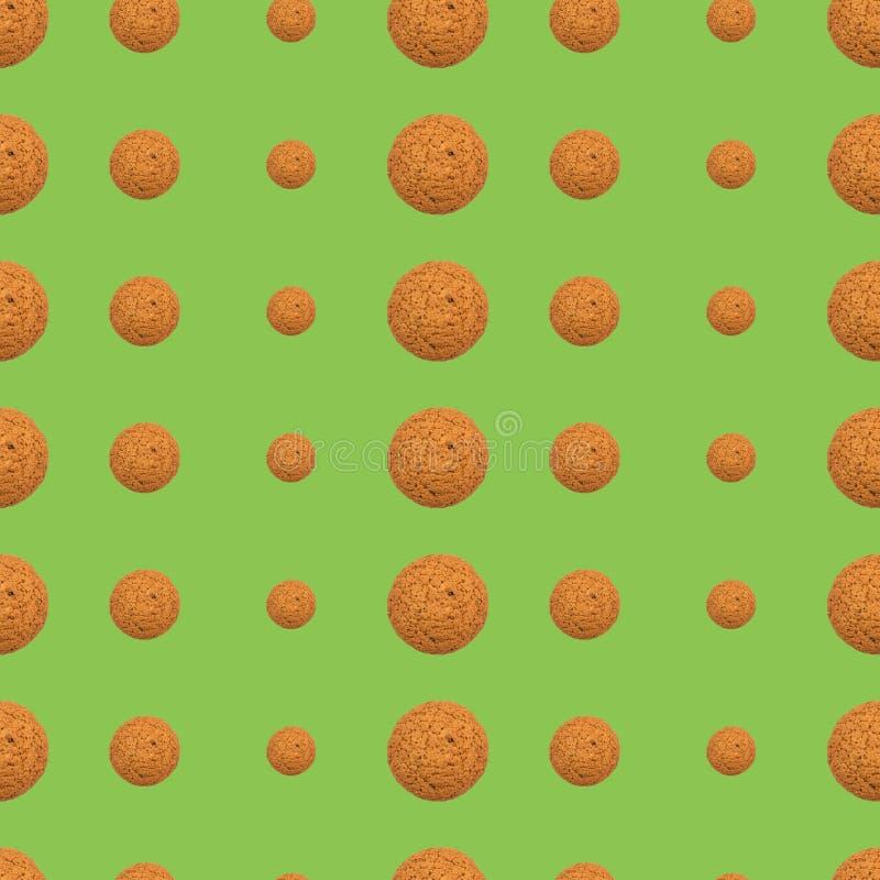 Teste padrão de repetição sem emenda de cookies de farinha de aveia em um fundo verde ilustração royalty free