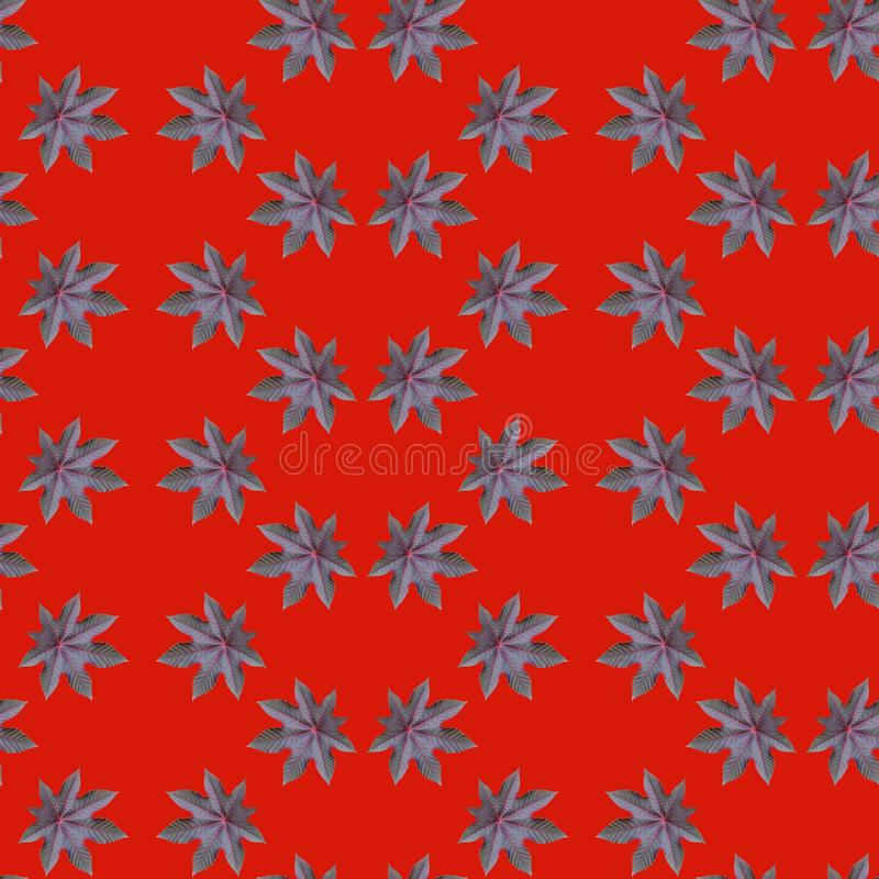 Teste padrão de repetição sem emenda do ricinus communis no fundo vermelho fotografia de stock